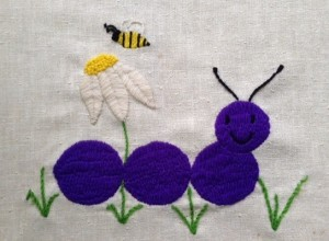 I embroidered this for an art project in 5th or 6th grade, using a variety of stitches. Our art teacher, Mrs. Rhinehart, gave me a B. (How could she give that smile a B?) A boy in my class named Alex was so incensed by the injustice of it that he grabbed it and ran into Mrs. Rhinehart's classroom to plead my case. He wasn't successful, but he was sweet.