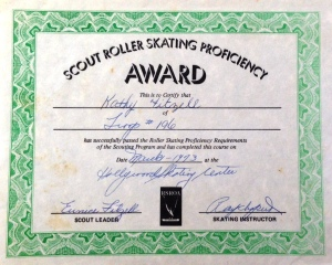 "Now here's a sport I was good at—but a roller skating proficiency award? Now that I think back, I do vaguely remember demonstrating my skills in a darkened rink with reality-distorting lighting and mind-bending music (Delta Dawn – Helen Reddy and Bad Bad Leroy Brown – Jim Croce just to name two.)  Examiner: ""skate forward…Now, skate backward. You're proficient!"""