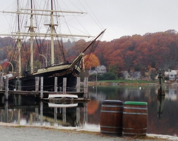 A misty autumn afternoon at Mystic Seaport