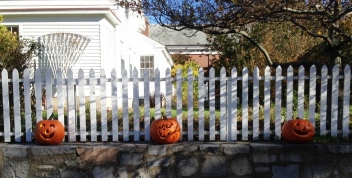 Three pumpkins greet visitors at Mystic Seaport